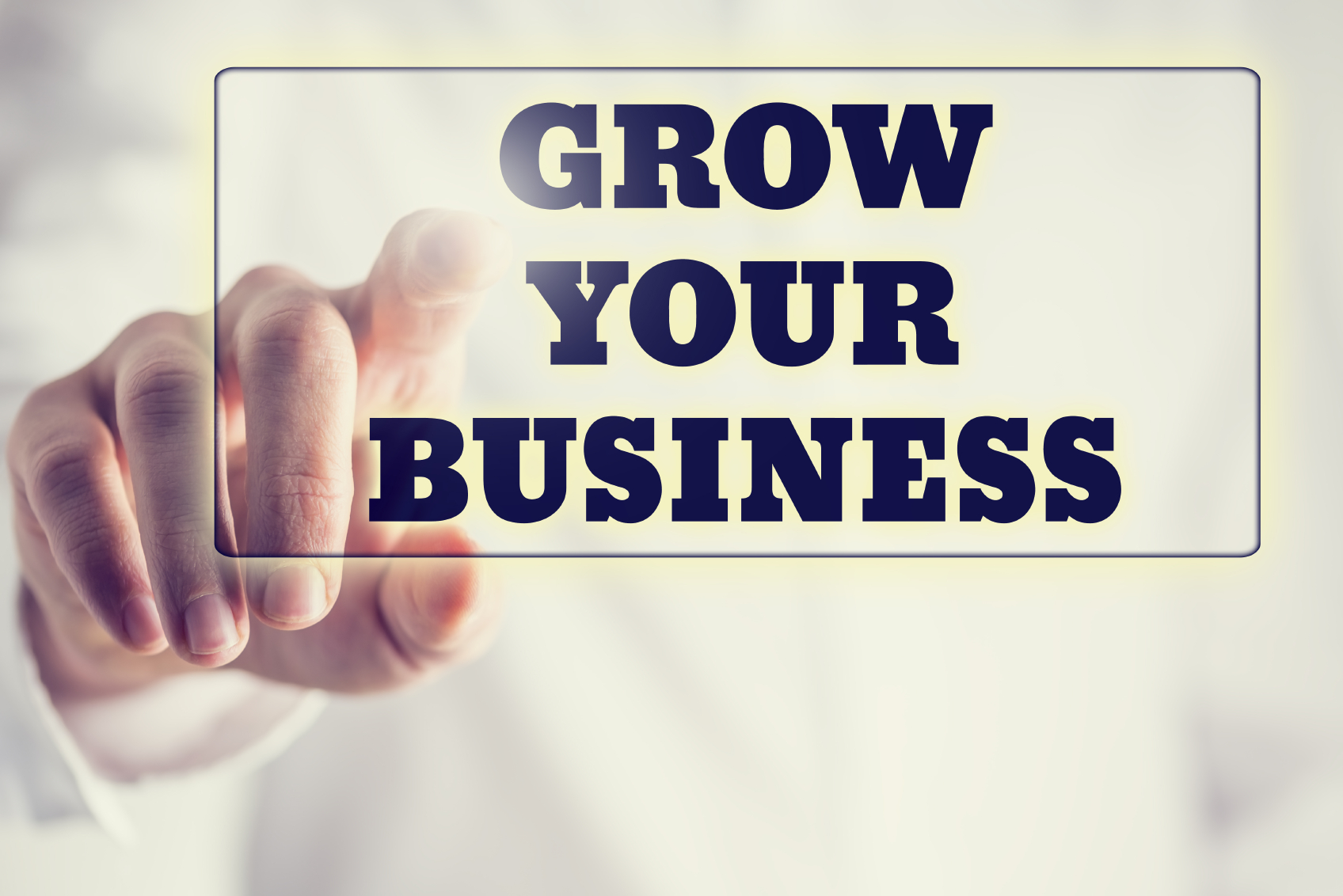 Concept of new or start up business - words Grow your business o